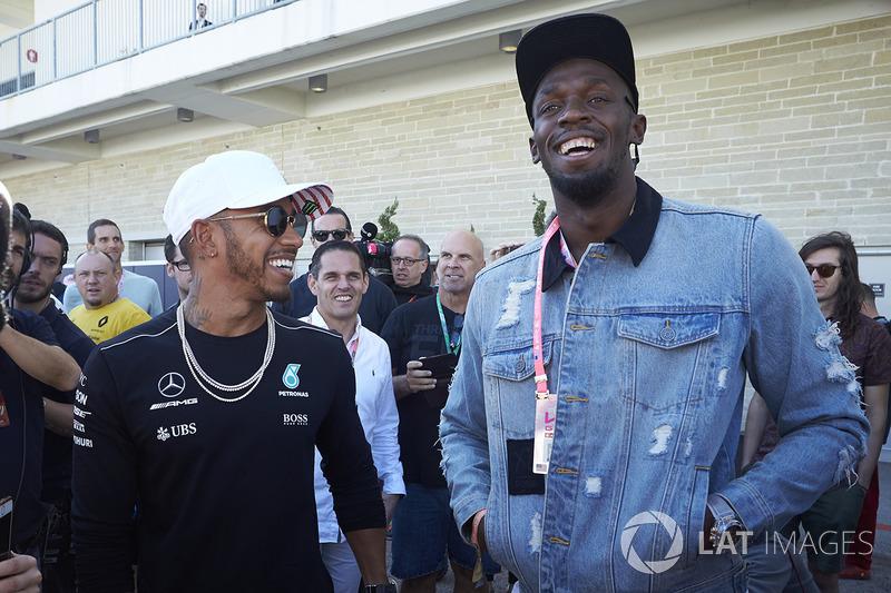 Lewis Hamilton, Mercedes AMG F1, conoce a Usain Bolt