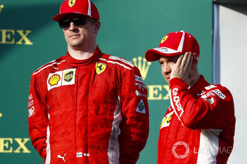 Kimi Raikkonen, Ferrari, Sebastian Vettel, Ferrari, podyumda