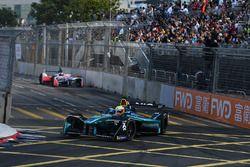 Oliver Turvey, NIO Formula E Team, leads Felix Rosenqvist, Mahindra Racing