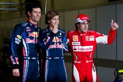 Top 3 na de kwalificatie: Sebastian Vettel, Red Bull Racing, Mark Webber, Red Bull Racing, Fernando