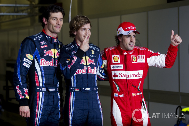 Top3 after qualifying: Sebastian Vettel, Red Bull Racing, Mark Webber, Red Bull Racing, Fernando Alonso, Ferrari