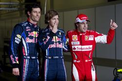 Le top 3 des qualifications : Sebastian Vettel, Red Bull Racing, Mark Webber, Red Bull Racing, Fernando Alonso, Ferrari