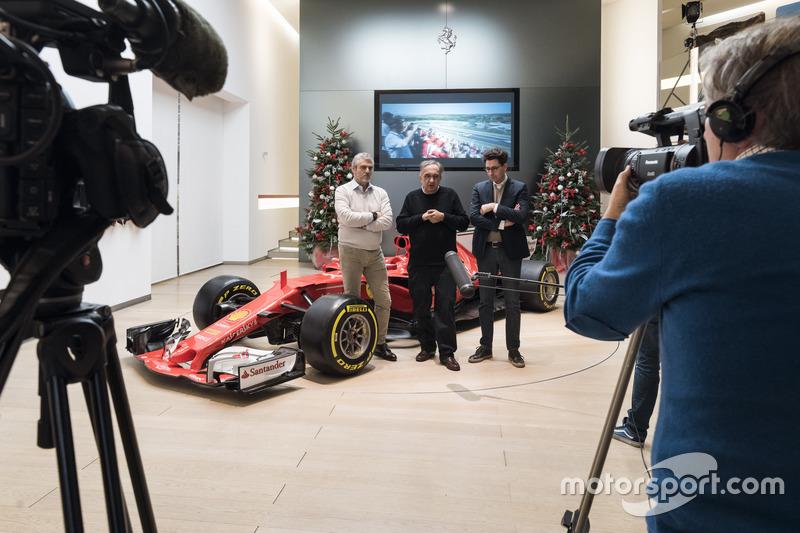 Arrivabene, Marchionne y Binotto antes del almuerzo de Navidad de Ferrari