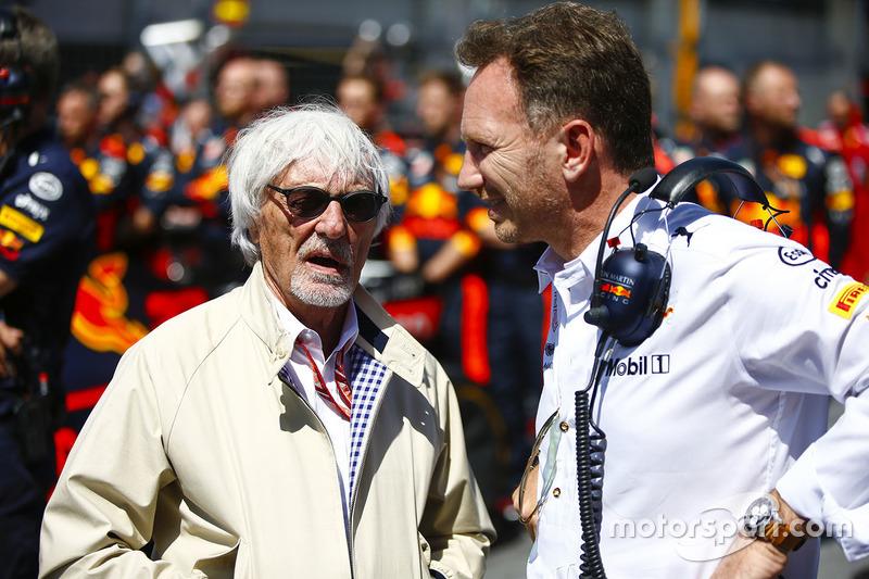 Bernie Ecclestone, Christian Horner, Team Principal, Red Bull Racing