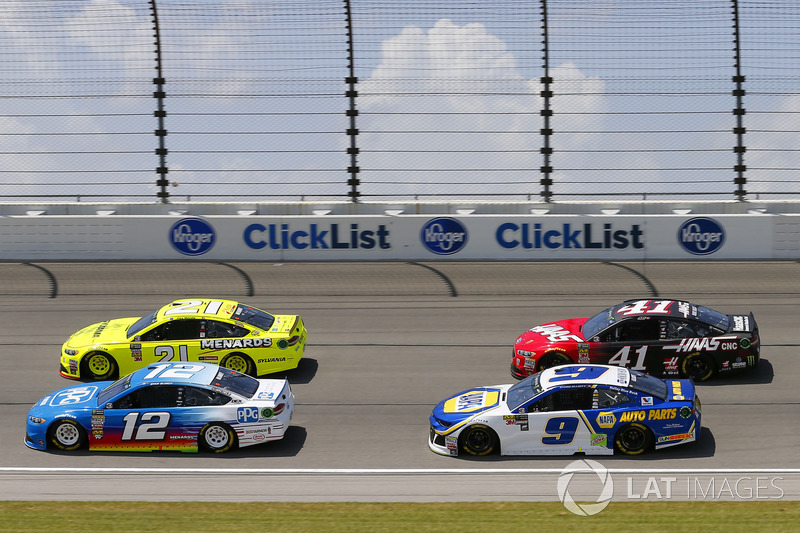 Ryan Blaney, Team Penske, Ford Fusion PPG, Paul Menard, Wood Brothers Racing, Ford Fusion Menards / Sylvania, Chase Elliott, Hendrick Motorsports, Chevrolet Camaro NAPA Auto Parts e Kurt Busch, Stewart-Haas Racing, Ford Fusion Haas Automation