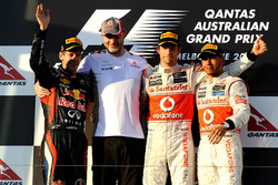 Podium: second place Sebastian Vettel, Red Bull Racing, Race winner Jenson Button, McLaren, third place Lewis Hamilton, McLaren