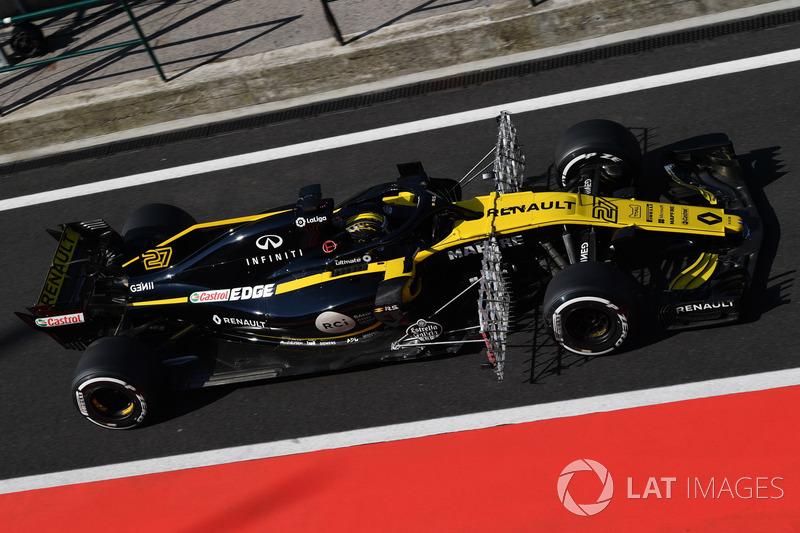 Nico Hulkenberg, Renault Sport F1 Team R.S. 18, con dei sensori erodinamici