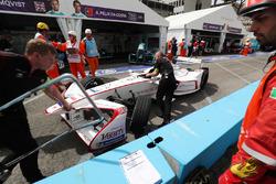Jose Maria Lopez, Dragon Racing, pushed back into the garage after the pit lane crash with Antonio Felix da Costa, Andretti Formula E Team
