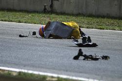 Martin Donnelly, Team Lotus, giace in pista dopo un tremendo incidente