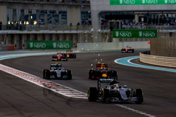 Lewis Hamilton, Mercedes F1 W07 Hybrid, leads Nico Rosberg, Mercedes F1 W07 Hybrid, and Max Verstappen, Red Bull Racing RB12