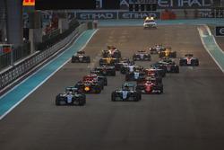 Lewis Hamilton, Mercedes F1 W07 Hybrid, leads Nico Rosberg, Mercedes F1 W07 Hybrid, Kimi Raikkonen, Ferrari SF16-H, Daniel Ricciardo, Red Bull Racing RB12, and the rest of the field at the start