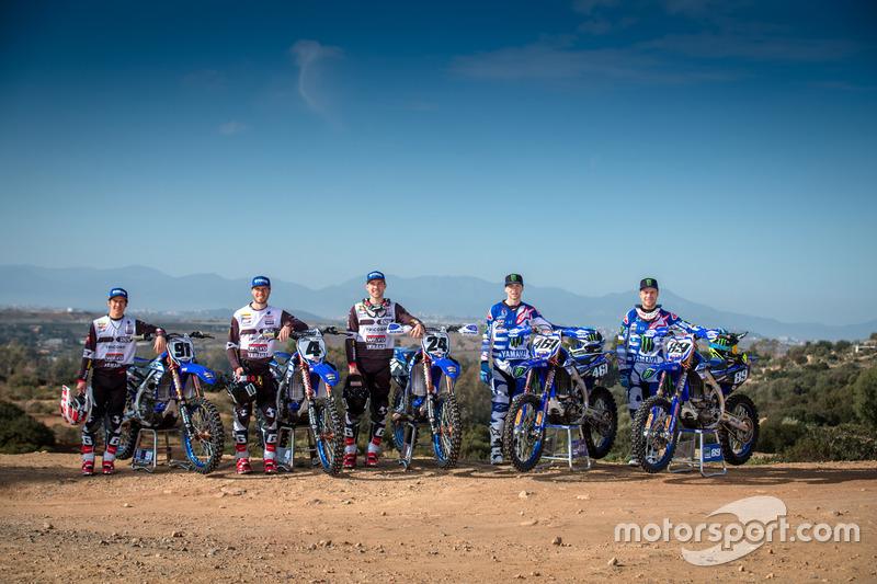 Jeremy Seewer, Arnaud Tonus and Shaun Simpson, Wilvo Yamaha Official MXGP Team; Romain Febvre, Jerem