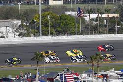 Jimmie Johnson, Hendrick Motorsports Chevrolet Camaro, Brad Keselowski, Team Penske Ford Fusion and Erik Jones, Joe Gibbs Racing Toyota