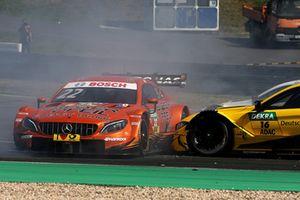 Crash of Lucas Auer, Mercedes-AMG Team HWA, Mercedes-AMG C63 DTM and Timo Glock, BMW Team RMG, BMW M4 DTM