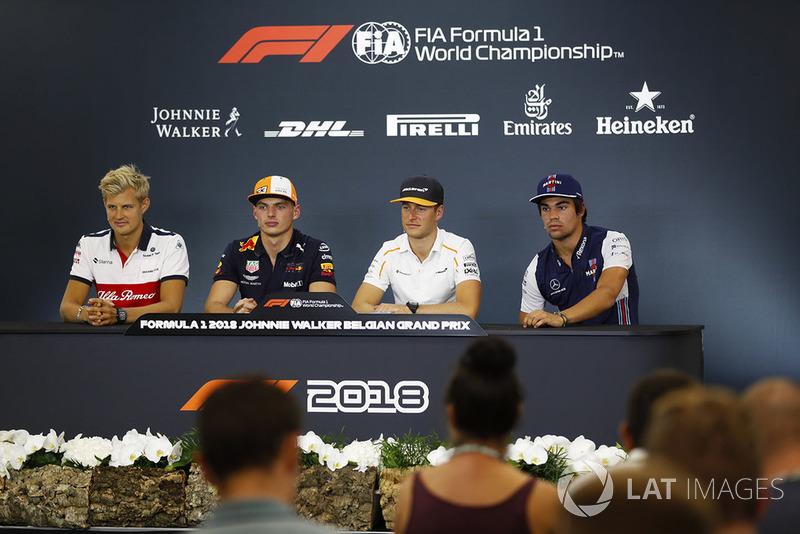 Marcus Ericsson, Sauber, Max Verstappen, Red Bull Racing, Stoffel Vandoorne, McLaren, et Lance Stroll, Williams Racing, en conférence de presse