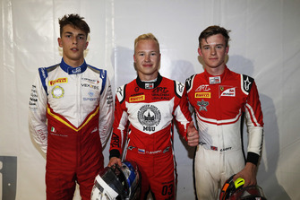 Pole sitter Nikita Mazepin, ART Grand Prix, second place Callum Ilott, ART Grand Prix, third place Callum Ilott, ART Grand Prix