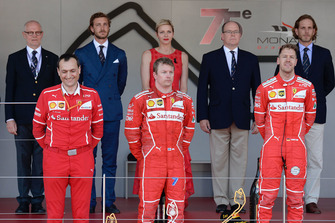 Podium: race winner Sebastian Vettel, Ferrari, second place Kimi Raikkonen, Ferrari, third place Daniel Ricciardo, Red Bull Racing