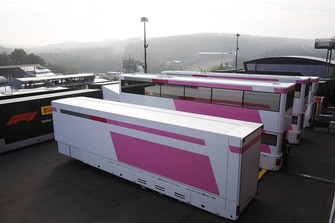 Force India trucks in the paddock
