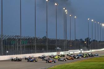 Zach Veach, Andretti Autosport Honda, Alexander Rossi, Andretti Autosport Honda, Scott Dixon, Chip Ganassi Racing Honda