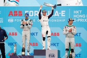 Race winner Sam Bird, Envision Virgin Racing celebrates on the podium alongside Edoardo Mortara, Venturi Formula E, 2nd position, Lucas Di Grassi, Audi Sport ABT Schaeffler, 3rd position