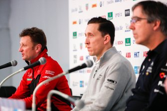 Allan McNish, Team Principal, Audi Sport Abt Schaeffler in the press conference with James Barclay, Team Director, Panasonic Jaguar Racing, Mark Preston, Team Principal, DS TECHEETAH