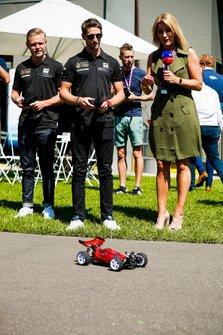 Romain Grosjean, Haas F1 Team and Kevin Magnussen, Haas F1 Team and Rachel Brookes, Sky Tv