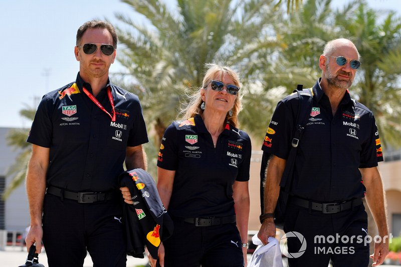 Christian Horner, Team Principal, Red Bull Racing, Jayne Poole, HR Director, Red Bull Racing (F1) & Red Bull Technology, Adrian Newey, Chief Technical Officer, Red Bull Racing