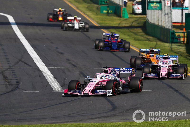 Sergio Perez, Racing Point RP19, Lance Stroll, Racing Point RP19, Carlos Sainz Jr., McLaren MCL34, y Daniil Kvyat, Toro Rosso STR14