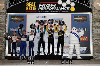 #52 PR1 Mathiasen Motorsports ORECA LMP2, LMP2: Matthew McMurry, Gabriel Aubry, #38 Performance Tech Motorsports ORECA LMP2, LMP2: Kyle Masson, Cameron Cassels, podium