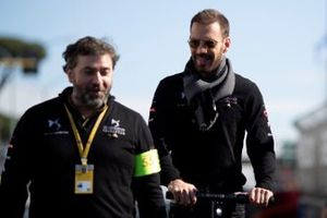 Jean-Eric Vergne, DS TECHEETAH, does a track walk on his scooter