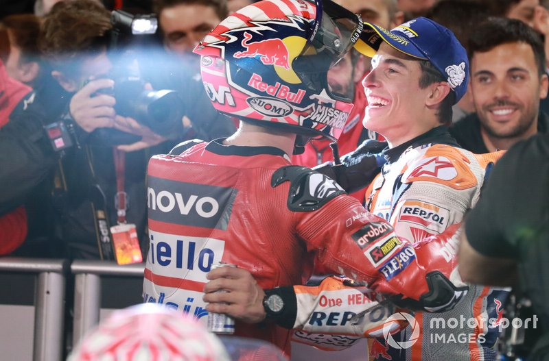 Andrea Dovizioso, Ducati Team, Marc Marquez, Repsol Honda Team en Parc ferme