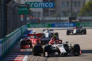 Antonio Giovinazzi, Alfa Romeo Racing C39, Sebastian Vettel, Ferrari SF1000, and Nicholas Latifi, Williams FW43