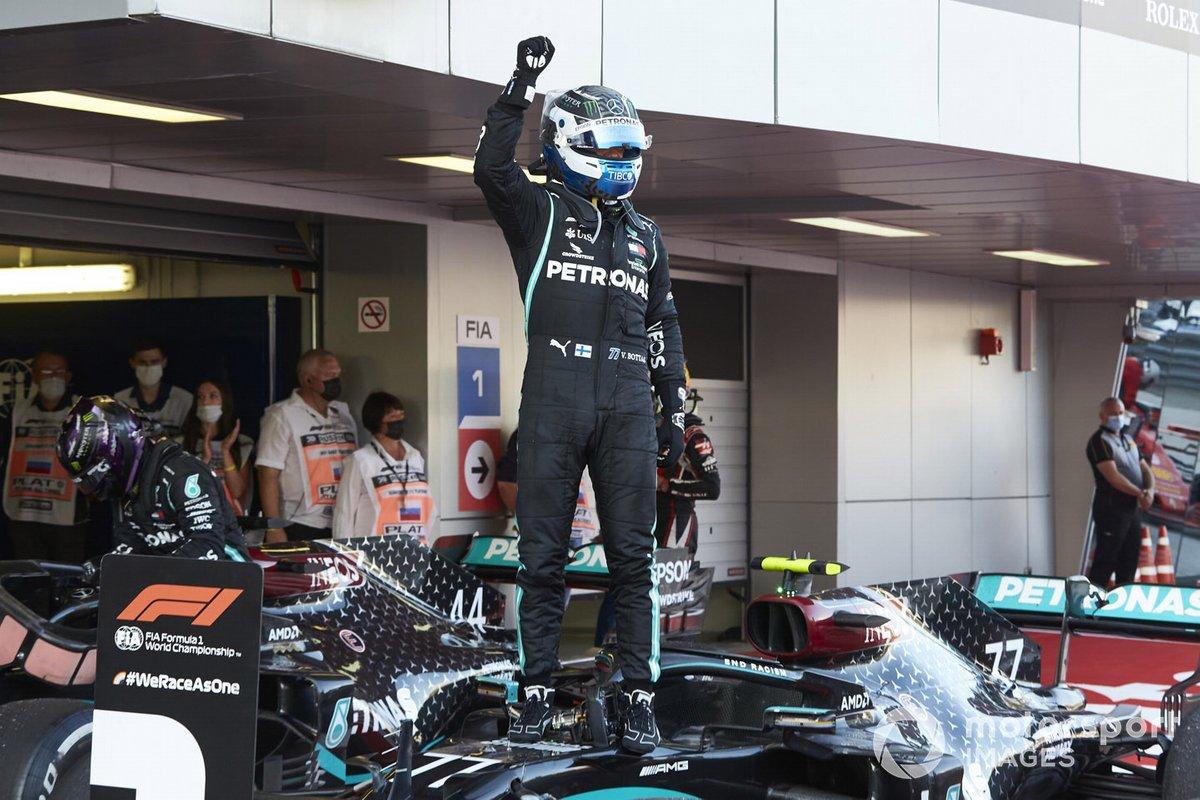 Valtteri Bottas, Mercedes-AMG F1, 1st position, celebrates on arrival in Parc Ferme