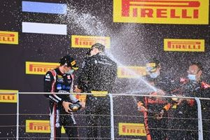 Winner Christian Lundgaard, ART Grand Prix celebrates on the podium and sprays champagne with Louis Deletraz, Charouz Racing System and Juri Vips, Dams