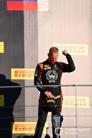 Nikita Mazepin, Hitech Grand Prix, celebrates on the podium