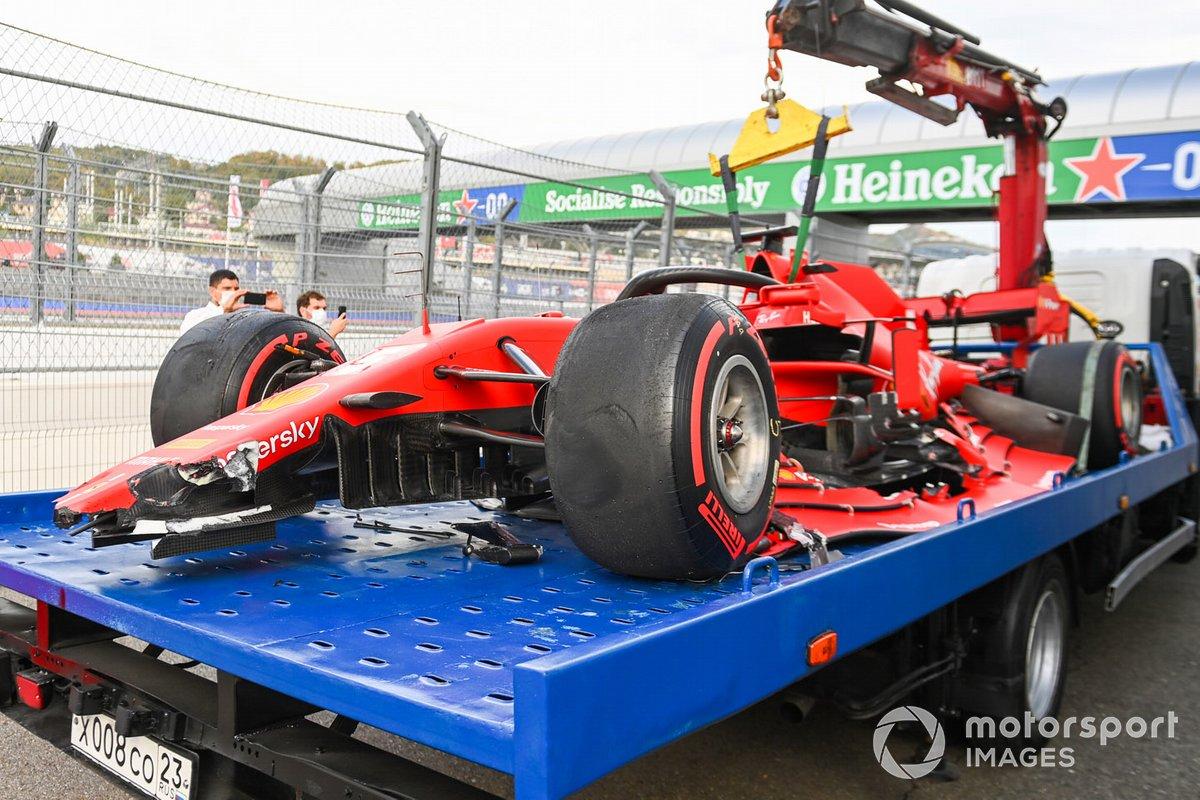 El monoplaza dañado de Sebastian Vettel, Ferrari SF1000