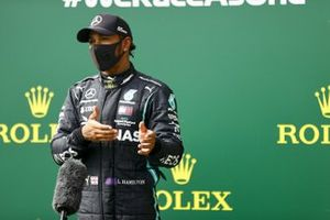 Pole Sitter Lewis Hamilton, Mercedes-AMG F1 speaks to the media in Parc Ferme