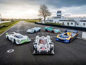 Porsche 919 hybrid and four Porsche 917s - 917-001 (1969), 917 KH (1971), 917/30-001 (1972), 917/30 Spyder (1973)