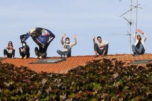 Fans on a rooftop
