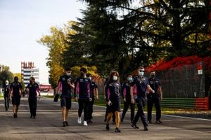 Lance Stroll, Racing Point, Sergio Perez, Racing Point, and the Racing Point team walk the track