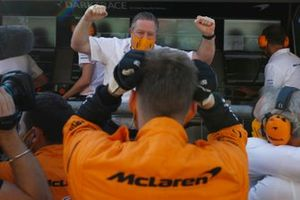 Zak Brown, CEO, McLaren Racing, celebrates with his team after the race