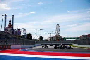 Lewis Hamilton, Mercedes W12, Kimi Raikkonen, Alfa Romeo Racing C41, and Valtteri Bottas, Mercedes W12