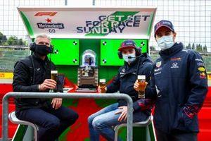 David Coulthard, Max Verstappen, Sergio Perez, Heineken Pit Wall Bar
