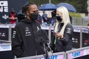 Lewis Hamilton, Mercedes, speaks to the media