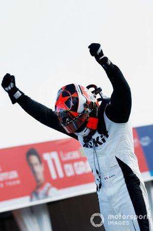 Norman Nato, Venturi Racing, 1ste positie, viert feest in Parc Ferme