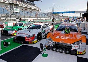Les voitures du Top 3 de René Rast, Audi Sport Team Rosberg, Jamie Green, Audi Sport Team Rosberg, Nico Müller, Audi Sport Team Abt Sportsline