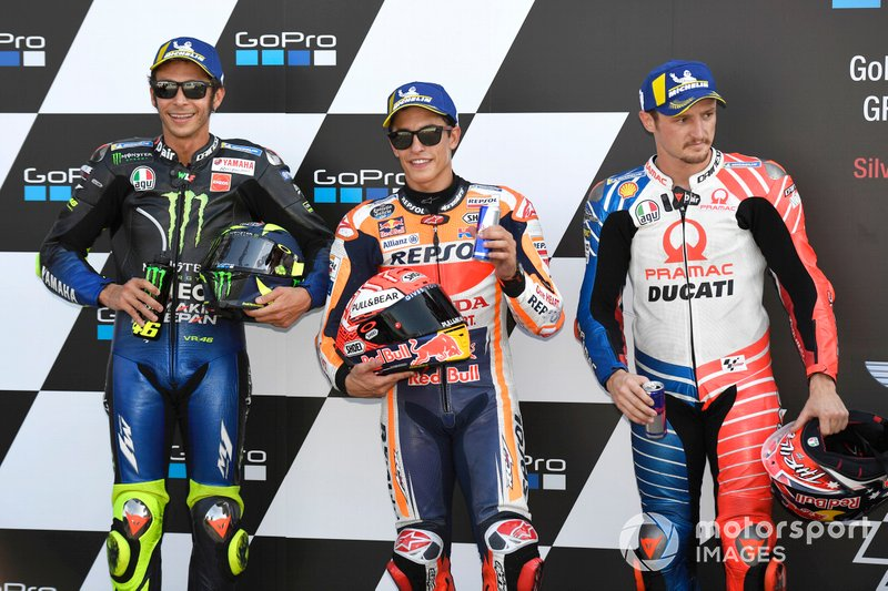 Pole sitter Marc Marquez, Repsol Honda Team, secondo classificato Valentino Rossi, Yamaha Factory Racing, terzo classificato Jack Miller, Pramac Racing