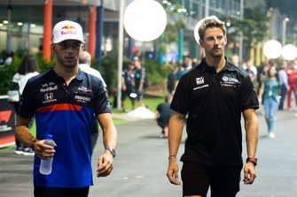 Pierre Gasly, Toro Rosso, and Romain Grosjean, Haas F1 Team