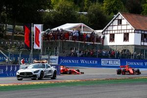 The safety car leads Charles Leclerc, Ferrari SF90 and Sebastian Vettel, Ferrari SF90