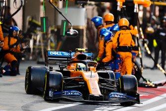 Lando Norris, McLaren MCL34, leaves his pit box after a stop